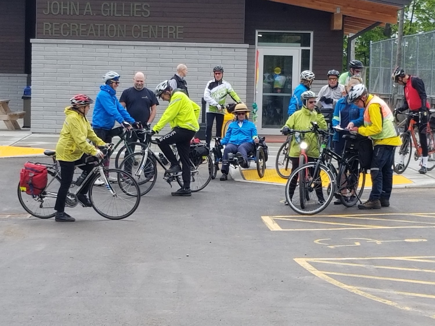Riders and McNab-Braeside staff and councillors meet in June, 2019, as part of the Mobile Workshop reviewing the Voyageur Colonial cycling route as it passes through the municipality.