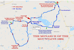 Monarch of the Mountains Map A map of one of the toughest 100 km rides in Ontario